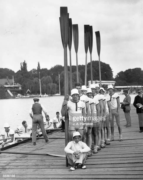 The Tabor Academy rowing crew from Marion Massachusetts at Henley Royal Regatta in Oxfordshire