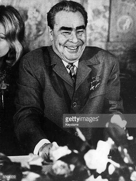 Leonid Ilyich Brezhnev Russian president during visit to Paris