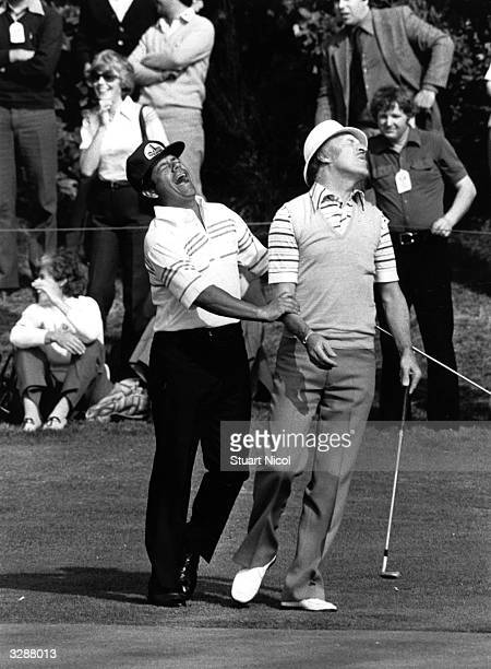 Lee Trevino fooling around during a match with entertainer Bruce Forsyth on the Epsom golf course