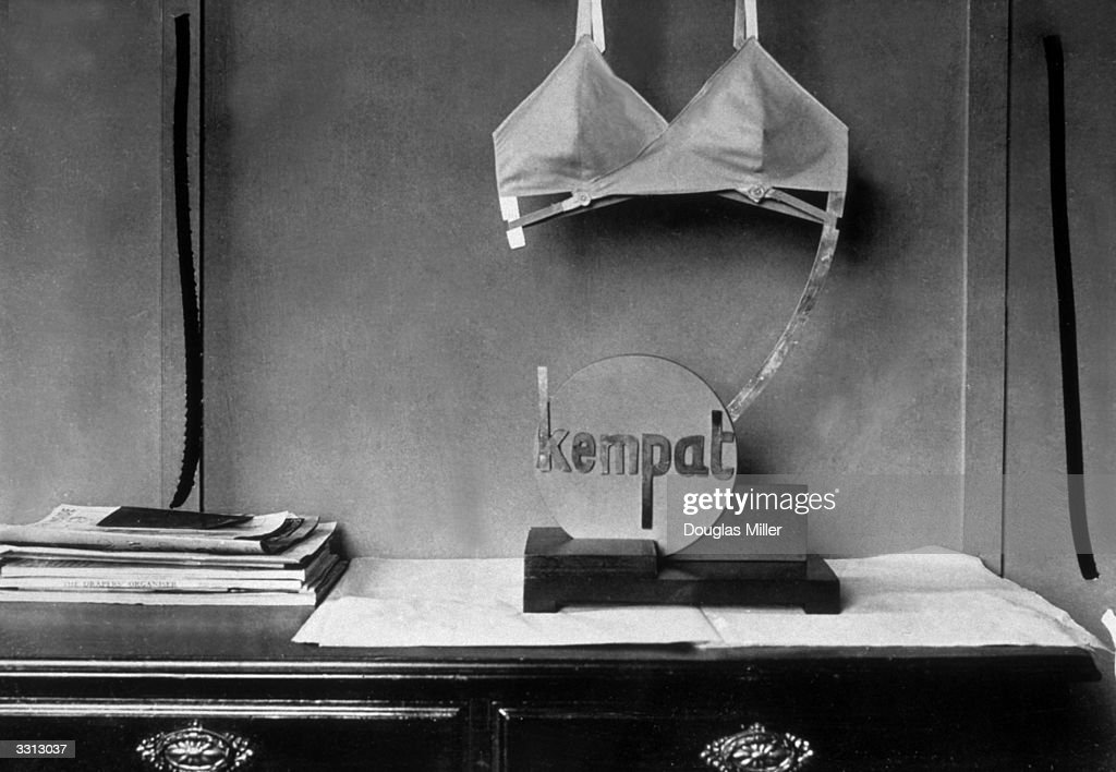 A bra on the display stand at Messrs Kempat, Euston Road, London.