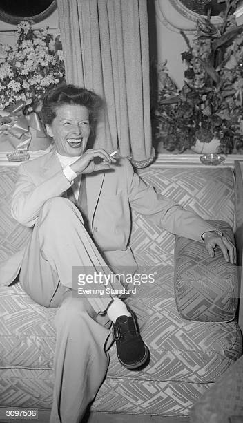 American film actress Katharine Hepburn on her arrival in London to play the lead in GB Shaw's 'The Millionairess'