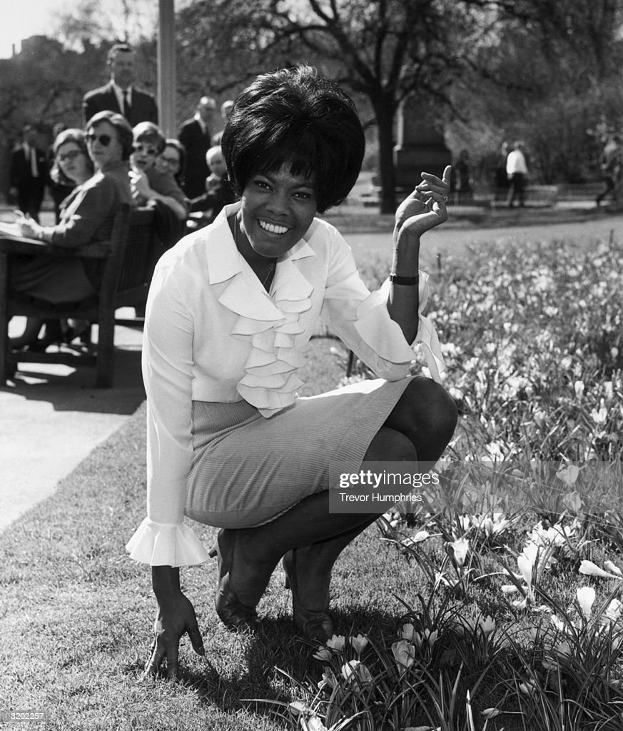American gospel and soul singer Dionne Warwick in the Embankment Gardens, London. She will be making her first cabaret appearance in England when she opens a season at the Savoy Hotel.