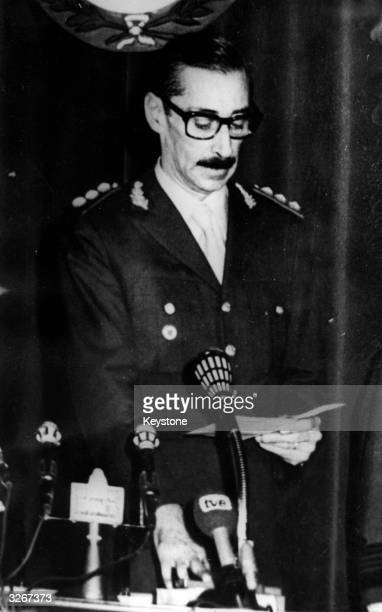 General Jorge Videla one of the new military leaders in Argentina who have overthrown president Maria Estela Peron making a speech