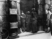 Members of the Salvation Army entering the offices of the Canadian Pacific Railway following the sinking of the 'Empress of Ireland' with great loss...
