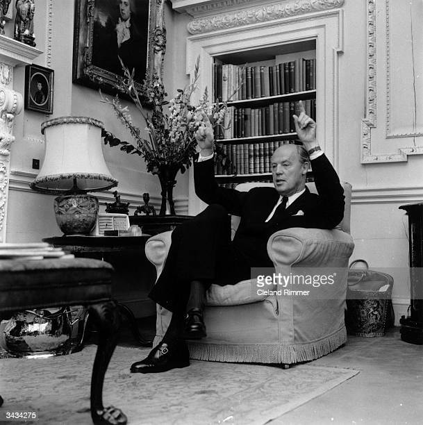 Newspaper magnate and Chairman of Associated Newspapers Lord Rothermere emphasises a point from the comfort of an armchair
