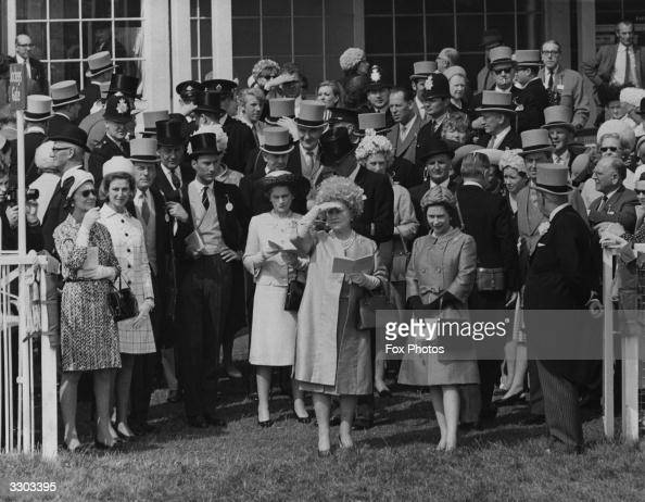 Members of the Royal Family at Epsom racecourse from the left include Princess Marina the Duchess of Kent her daughter and her daughter's husband...