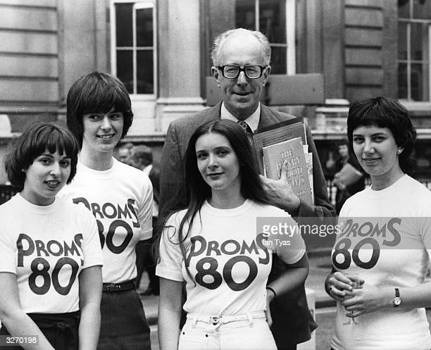 Robert Ponsonby the BBC Controller of Music seen with four BBC girls who are modelling the Proms 80 tee shirts at the time the BBC announced its...