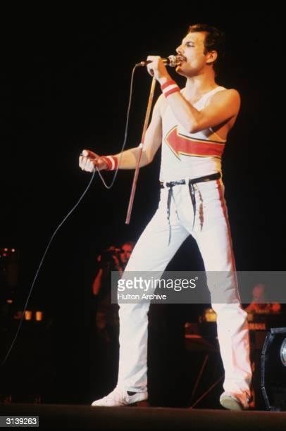 Freddie Mercury lead singer of 70s hard rock quartet Queen in concert at Leeds Football Club