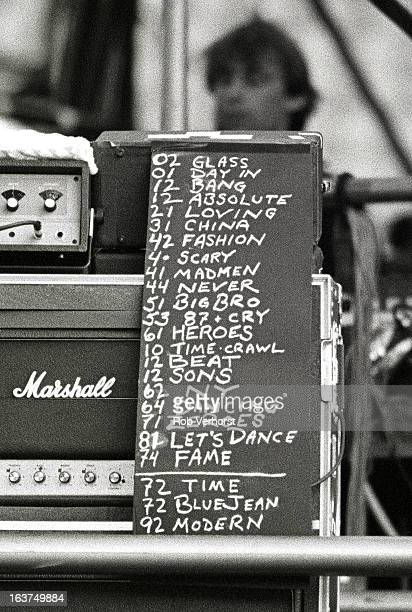 View of the set list for David Bowie's concert at the Feijenoord Stadium in Rotterdam Netherlands during his Glass Spider tour on 29th May 1987