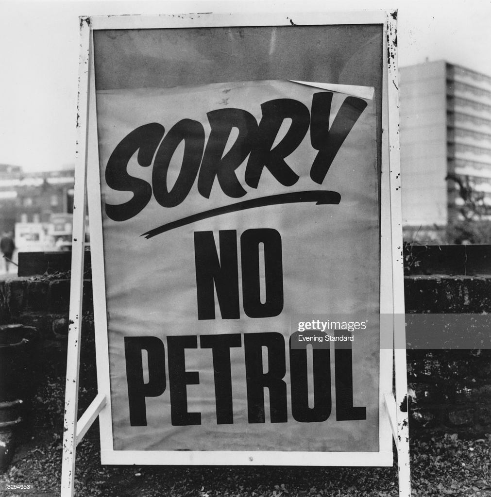 A sign outside a garage in the Walworth Road, South London, during the petrol crisis of 1973. Petrol coupons were issued by the Government in readiness for rationing.