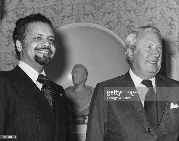 Sheikh Yamani Saudi Arabian oil minister with Prime Minister Edward Heath at No 10 Downing street for talks about the 1973 oil crisis