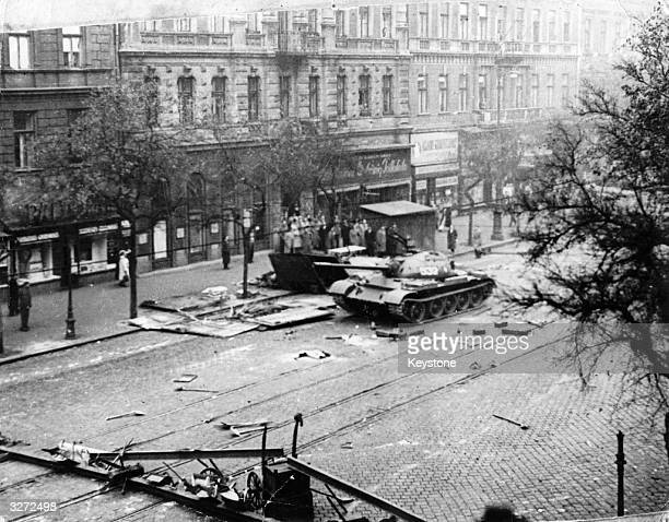 Civilians and Russian T54/55 tanks in Budapest during the riots which broke out against the Communist Regime