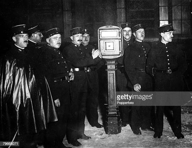 29th September 1930 French Gendarmes admire a new Police signal box in Paris France