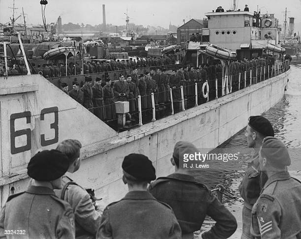 A party of 120 French troops belonging to an antiaircraft battery aboard their tank landing craft at Plymouth on their way to the antiaircraft...