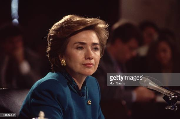 American politician and lawyer Hillary Clinton during her testimony to the Senate Education and Labour Committee on Health Care Reform
