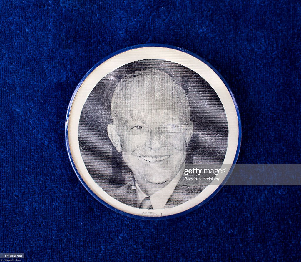 A 2-inch 1952 or 1956 'I Like Ike' campaign button hologram of Republican Party candidate for president Dwight D. Eisenhower is seen June 29, 2013 in Dorset, Vermont. Eisenhower's vice-presidential candidate was Richard Nixon in both elections. The vintage pin is priced at $19.95.