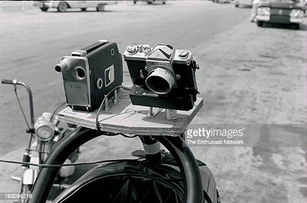 1965 2nd Annual Hot Rod Magazine Championship Drag Races Photographer Bob D'Olivo rigs a CineKodak 16mm motion picture camera and a Nikon F still...