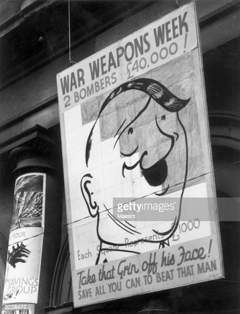 A caricature of Hitler on display at Tewkesbury Town Hall as part of the Weapons Week promotion