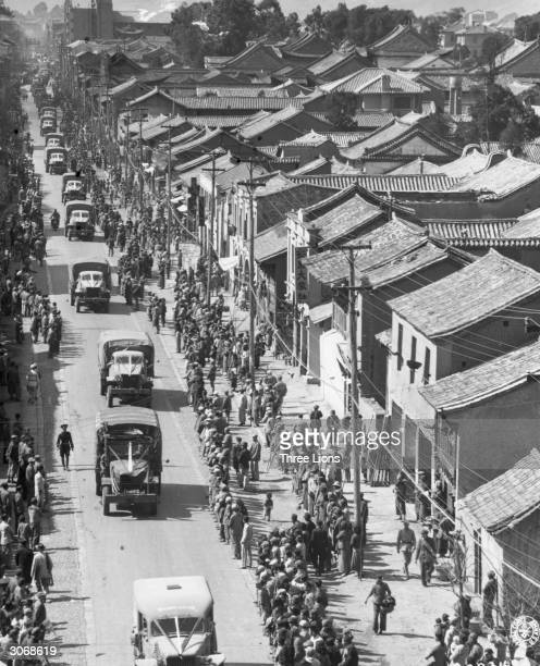 A convoy of Ambulances on the Ledo Burma road in Kunming China