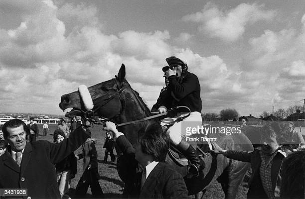 Red Rum being led in after his record breaking third Grand National win at Aintree racecourse in Liverpool