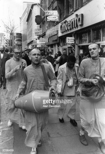 A group of the Hari Krishna members in London's Oxford Street trying to drum up followers