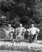 The leaders of the Big Three meeting at Potsdam British Prime Minister Winston Churchill American President Harry S Truman and the Soviet leader...
