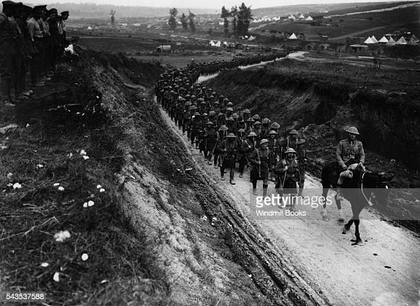 2nd Battalion Gordon Highlanders marching to the trenches along the BecordelFricourt Road October 1916 British Front France '16 General Battle Somme