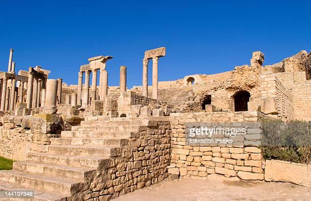 2Nd Century Roman Theater Ruins Dougga Tunisia