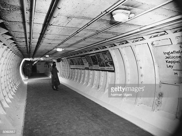 One of the main tunnels at Clapham Deep Shelter used to accommodate visitors to the Festival of Britain The shelter can take 4000 people is served by...