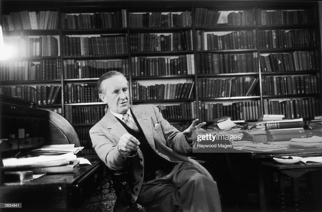 John Ronald Reuel Tolkien ( 1892 - 1973) the South African-born philologist and author of 'The Hobbit' and 'The Lord Of The Rings'. Original Publication: Picture Post - 8464 - Professor J R R Tolkien - unpub. Original Publication: People Disc - HM0232