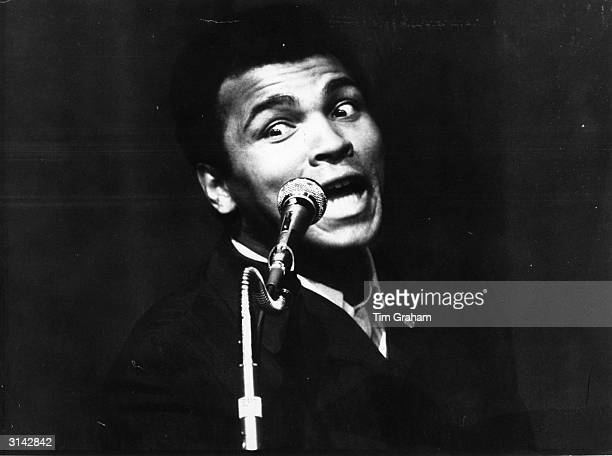 World Heavyweight Champion boxer Muhammad Ali addressing a Nation of Islam meeting at the New Victoria Theatre in London