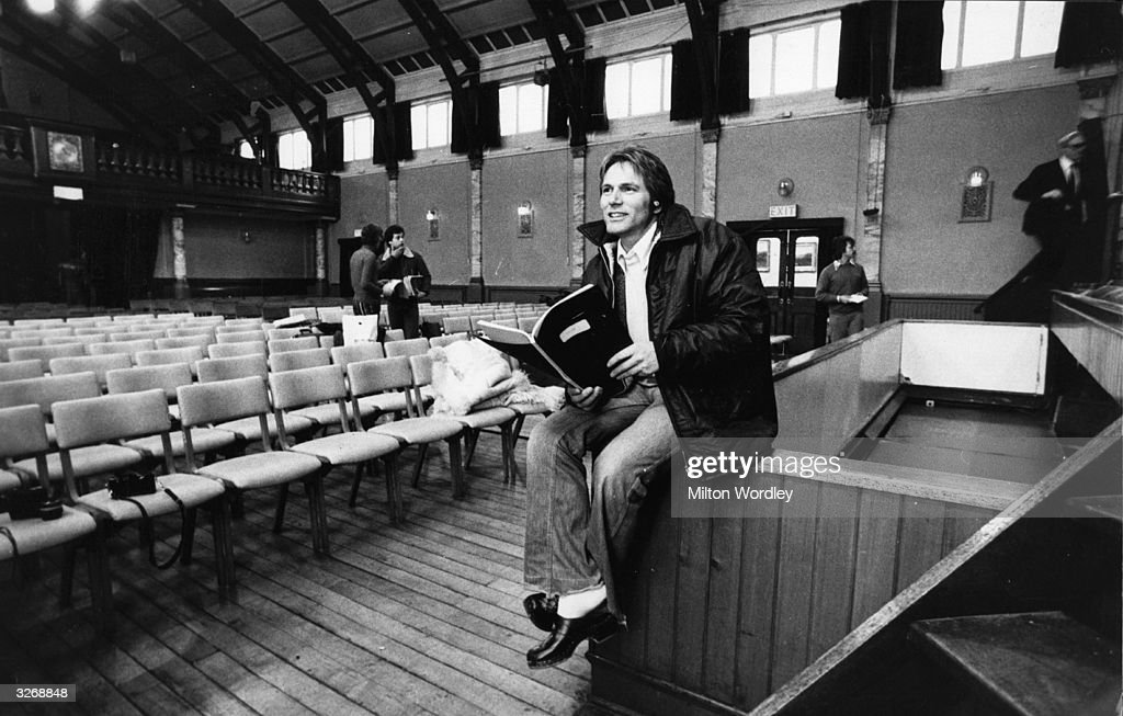 Pop singing star of the 1960's turned actor Adam Faith (1940 - 2003) rehearses for his West End theatre debut, at Stanley Hall in South Norwood, London.