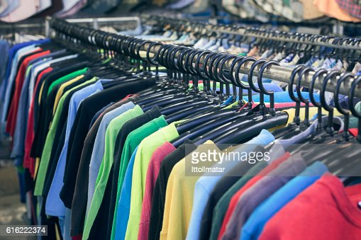 2nd hand sale clothes rack,fashion for men : Stock Photo