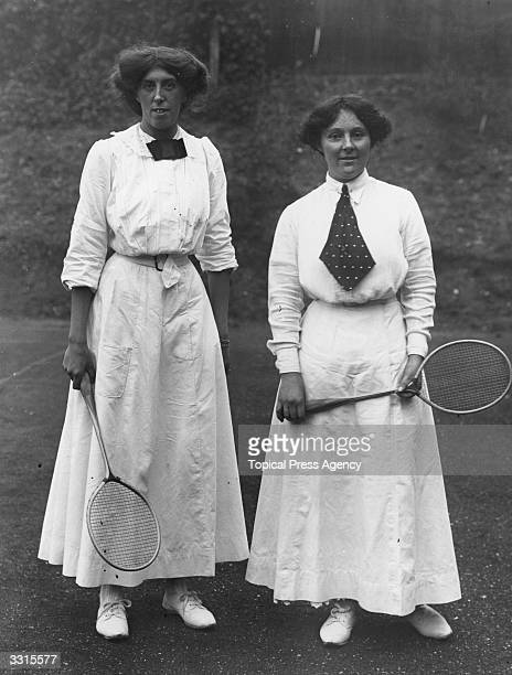 Ladies Doubles partners Miss Drake and Miss Harvey who are in the final of the Badminton Championships at Kenilworth Road Ealing London