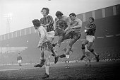 Five players including Gerry Queen simultaneously jump for a header during the match between Chelsea and Crystal Palace at Selhurst Park in the third...