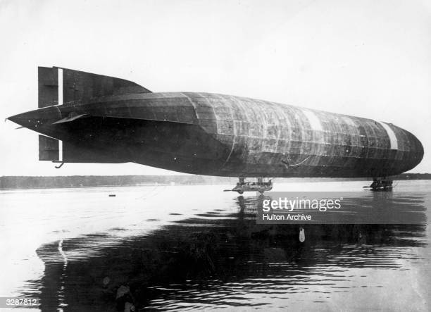 The first airship the LZ1 produced by the Prussian Count Ferdinand von Zeppelin on its maiden flight over Lake Constance with Zeppelin at the controls