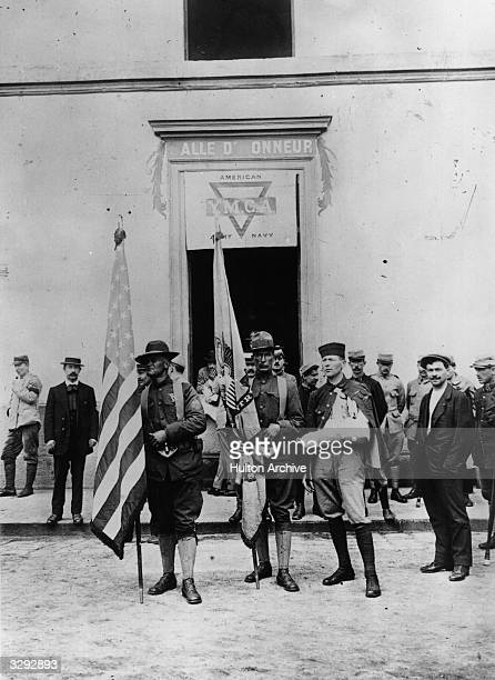 American soldiers outside the YMCA in France