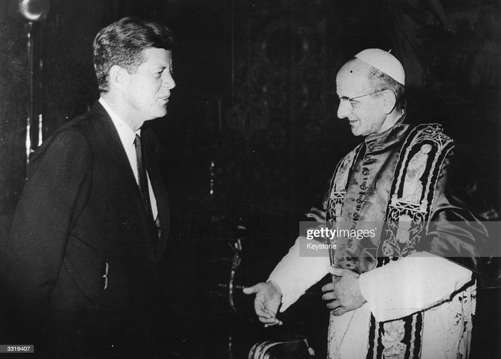 US statesman John F Kennedy 35th president of the USA during an audience with the newlyelected Pope Paul VI at the Vatican Kennedy on an official...