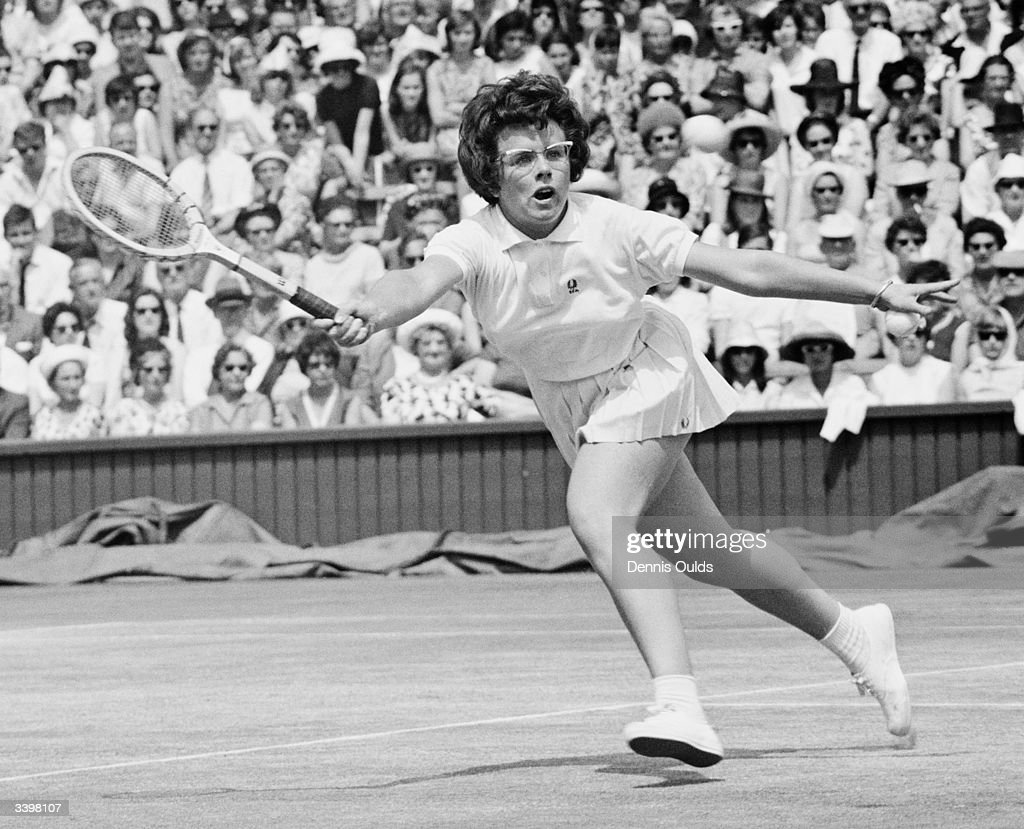 American tennis player Billie Jean Moffitt (later King) in action during a semi final in the women's singles championship at Wimbledon.