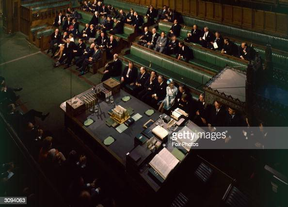 Future prime minister Margaret Thatcher in the House of Commons during the State Opening of Parliament in London