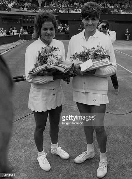 Nineteen year old Evonne Goolagong from Australia with her compatriot Margaret Court before their singles final at Wimbledon which Evonne won 64 61