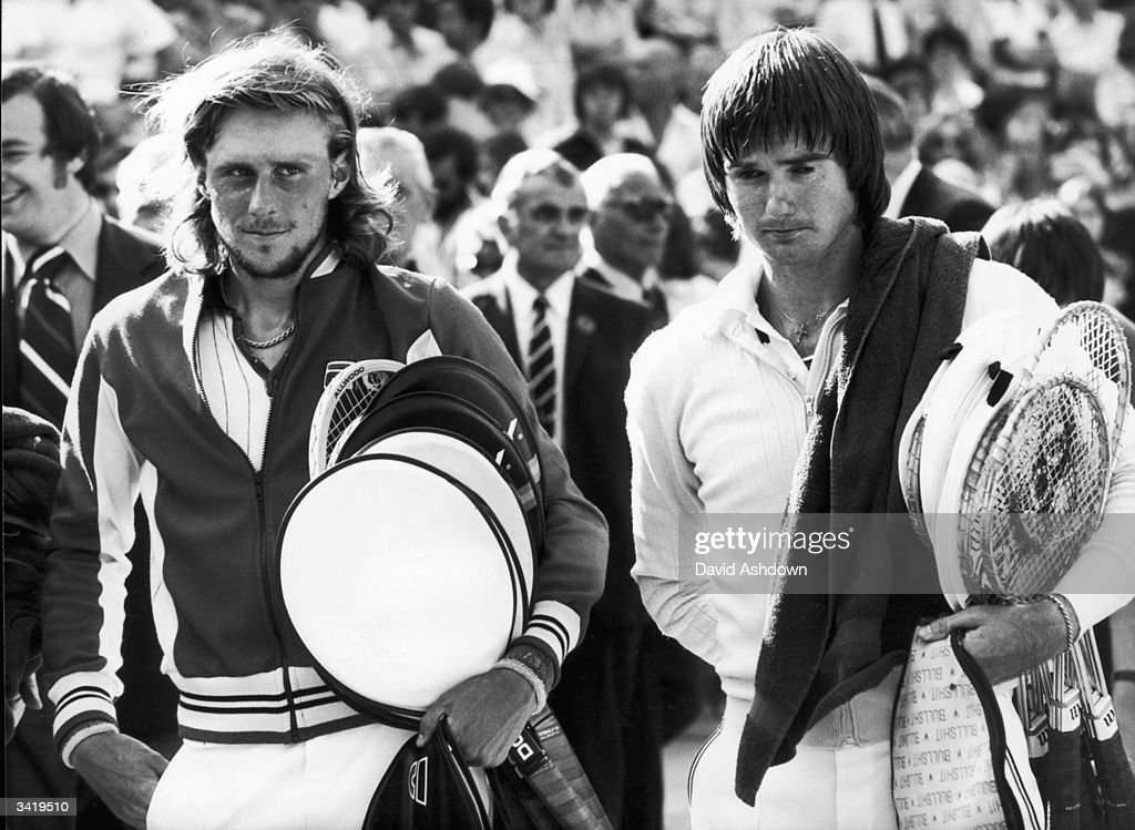 Swedish tennis star Bjorn Borg (left) with Jimmy Connors of the USA, just after Borg had won the men's singles title at the Wimbledon Lawn Tennis Championships.