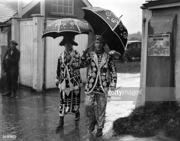 The Pearly King and Queen arriving at Epsom for the Derby