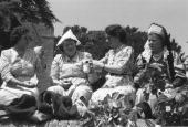 Members of the Women's Institute enjoying a picnic in the grounds of Chilham Castle during the coronation of Queen Elizabeth II Original Publication...