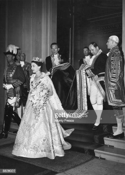 Queen Elizabeth II leaving Buckingham Palace for her coronation at Westminster Abbey London