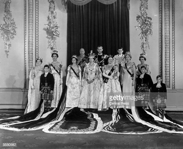 Queen Elizabeth II with Prince Philip Duke of Edinburgh Queen Elizabeth The Queen Mother Princess Margaret Rose and members of the immediate and...