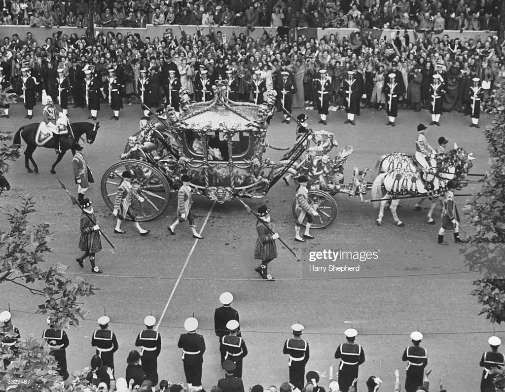 The Royal Coach carrying the Queen and Duke of Edinburgh as it approached Admiralty Arch on the way to the Abbey on Coronation day