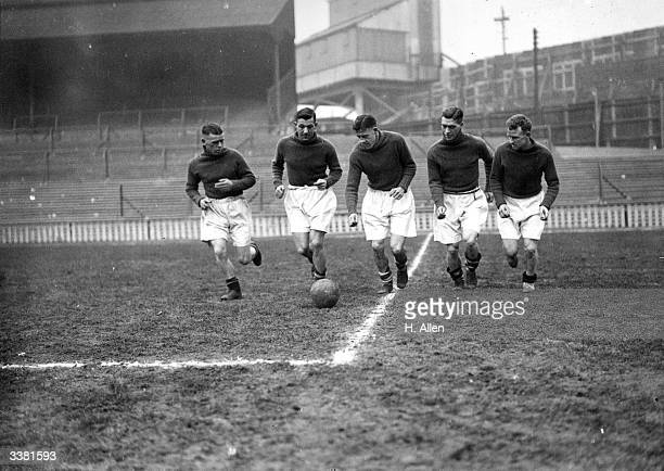 The players of Millwall Football Club's forward line Daniels Dave Mangnall Burditt McCartney and Wallbanks train at the Den in preparation for...