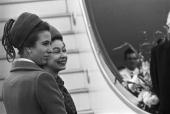 Queen Elizabeth II and her daughter Princess Anne board the plane at Heathrow airport for their tour of New Zealand and Australia a two month visit...