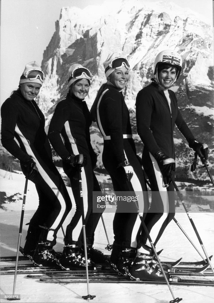 British skiers Valentina Iliffe, Carol Blackwood, Gina Hathorne and Divina Galica of the women's Olympic team pose in a row on a ski slope in Sapporo, Japan, Winter Olympic Games.